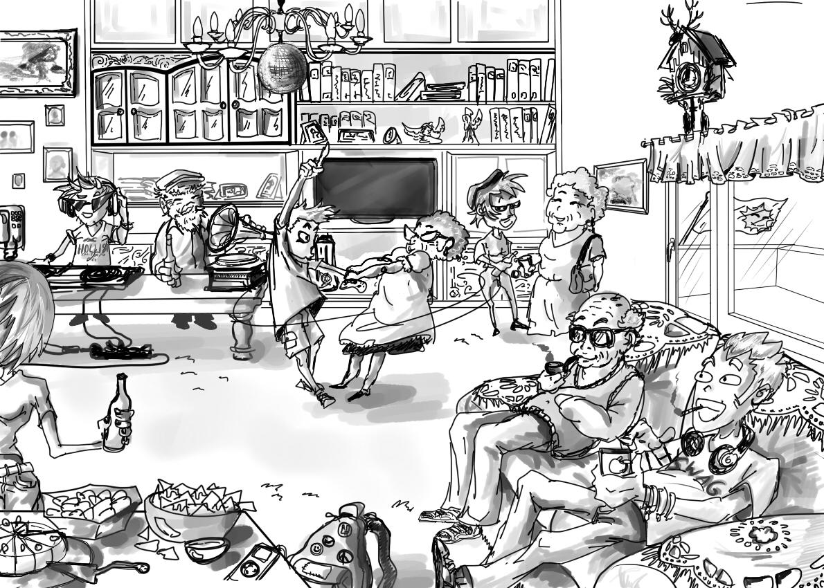 Auf der Party teilt man Snack und Swag. Zeichnung: Valerie Esch