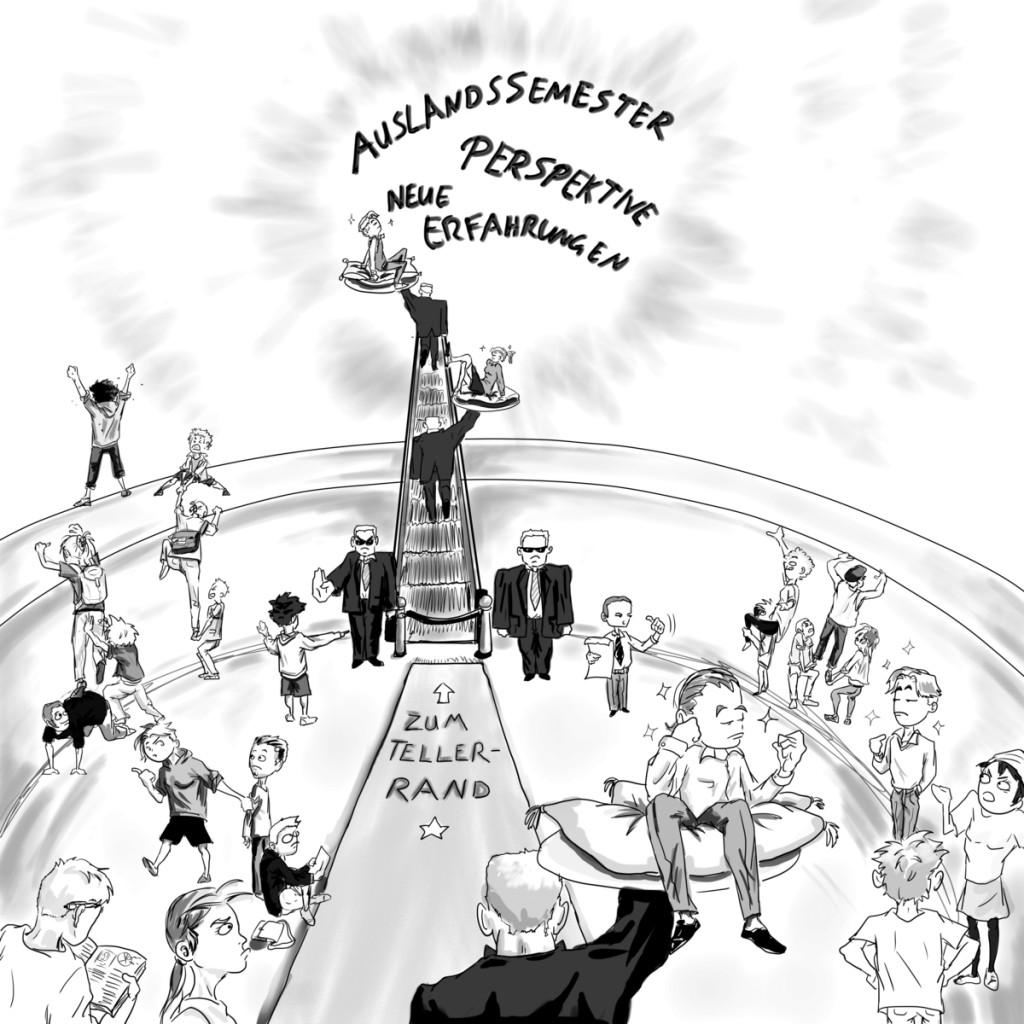 Der Blick über den Tellerrand - ein Privileg für nur wenige. Über den entsprechenden Zugang entscheidet nun allerdings nicht mehr vorwiegend die Universität. Eine Bewerbung zum Honors Program steht Studierenden frei.Zeichnung: V. Esch