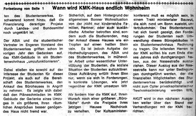 Bereits in den 1980er Jahren berichtete die akut über das Gebäude in der Nassestraße. Foto: Archiv